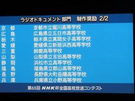 祝 全国入賞 放送部(アナウンス部門・ラジオドキュメント部門)