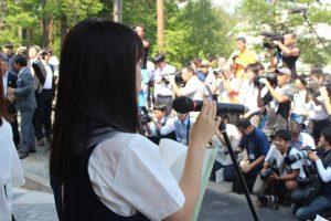 富士北麓公園屋内練習走路オープニングセレモニーの司会進行を務めました(放送部)